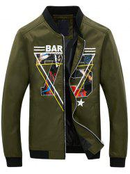 3D Geometric Graphic Print Zip Up Jacket - ARMY GREEN XL