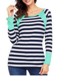 Raglan Sleeve Striped Top - GREEN S