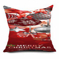 Christmas Balls Ornaments Printed Throw Pillow Case - DARK RED W17.5 INCH * L17.5 INCH
