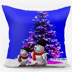 Christmas Tree Snowman Double Sided Printed Pillowcase - BLUE W17.5 INCH * L17.5 INCH