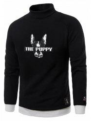 Dog Graphic Print Turtle Neck Fleece Sweatshirt - BLACK 3XL