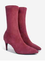 Pointed Toe Stiletto Heel Mid Calf Boots - WINE RED 36