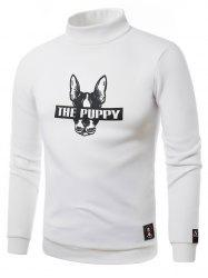 Dog Graphic Print Turtle Neck Fleece Sweatshirt - WHITE 5XL