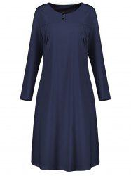 Plus Size Button Embellished Long Sleeve Smock Dress - CERULEAN 4XL