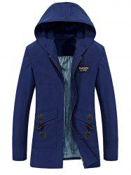 Horn Button Pockets Applique Long Zip Up Coat - BLUE 2XL