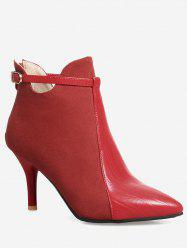 Buckle Strap Pointed Toe Stiletto Heel Boots - RED 39