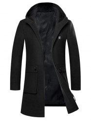 Zip Up Embroidered Woolen Coat -