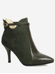 Buckle Strap Pointed Toe Stiletto Heel Boots - ARMY GREEN 40