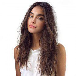 Long Center Parting Shaggy Natural Straight Synthetic Wig - BROWN 60CM