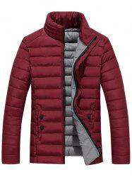 Zip Up Stand Collar Wadded Jacket - WINE RED 2XL
