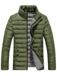 Zip Up Stand Collar Wadded Jacket - ARMY GREEN 3XL
