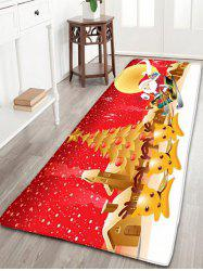 Christmas Moon Santa Claus Deer Nonslip Bath Mat - RED W24 INCH * L71 INCH
