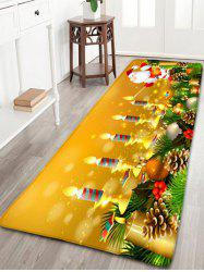 Santa Claus Candles Print Flannel Antiskid Christmas Bath Rug -