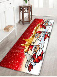 Three Santa Claus Pattern Flannel Nonslip Christmas Bath Rug -