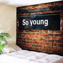 Vintage So Young Printed Brick Wall Tapestry - BRICK-RED W79 INCH * L59 INCH