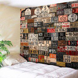 Wall Hanging License Plate Number Printed Tapestry - BROWN W59 INCH * L59 INCH