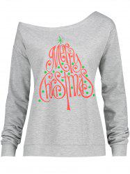 Merry Christmas Tree Printed Plus Size Sweatshirt - GRAY 2XL