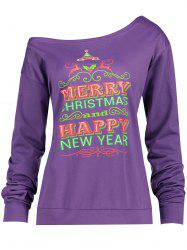 Christmas Tree Print Plus Size Drop Shoulder Sweatshirt - PURPLE XL