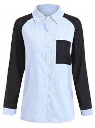 Plus Size Contrast Pocket Corduroy High Low Shirt -