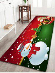 Flannel Nonslip Christmas Snowman Santa Claus Bath Mat - RED W24 INCH * L71 INCH