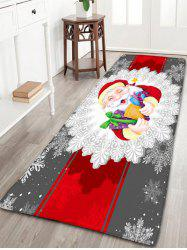 Santa Claus Print Christmas Flannel Skidproof Bath Rug - COLORMIX W24 INCH * L71 INCH