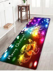 Neon Christmas Tree Santa Claus Flannel Skidproof Bath Rug - COLORFUL W16 INCH * L47 INCH