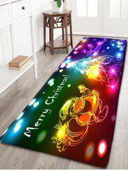 Neon Christmas Tree Santa Claus Flannel Skidproof Bath Rug -