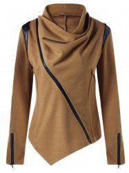 Zip Cuff Cowl Neck Asymmetrical Jacket - CAMEL M