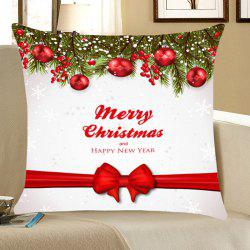 Christmas Balls Bowknot Belt Patterned Throw Pillow Case - Red With White - W18 Inch * L18 Inch