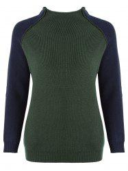 Color Block Elbow Patches Plus Size Mock Neck Sweater -
