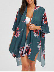 Asymmetric Slit Flower Print Kimono Cover-Up -