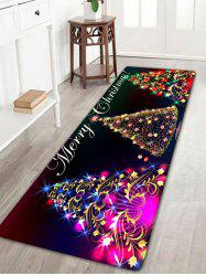 Neon Christmas Tree Print Flannel Antislip Bath Rug -