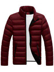 Col montant Zip Up Puffer Jacket - Rouge vineux  2XL
