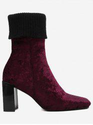 Block Heel Fold Over Square Toe Boots -