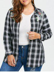 Embroidered Plus Size Checked Flannel Shirt -