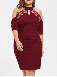 Plus Size Embroidered Cold Shoulder Keyhole Dress - WINE RED 3XL