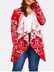 Christmas Element Plus Size Draped Cardigan - RED 4XL