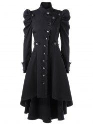 Puff Shoulder Single Breasted Dip Hem Trench Coat - BLACK L