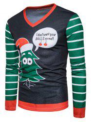 Christmas Cartoon Stripe Print Ugly T-shirt -