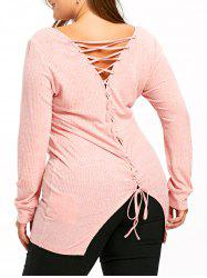 Plus Size Lace Up Longline Knitwear -