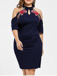 Plus Size Embroidered Cold Shoulder Keyhole Pencil Dress -