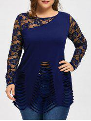 Plus Size Lace Insert Ripped Top -