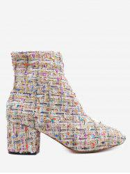 Block Heel Mix Pattern Ankle Boots -
