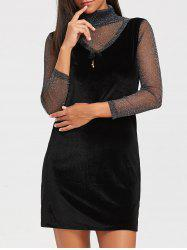 Turtleneck See Through Velvet Mini Dress -