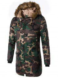 Zip Up Faux Fur Hooded Camouflage Coat -