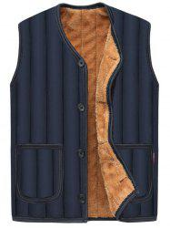 Pockets Button Up Flocking Padded Vest -