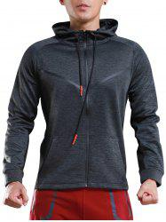 Contrast Drawstring Hooded Sports Track Jacket -