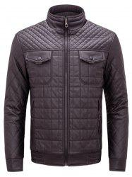 Grid Check Quited Faux Leather Jacket -