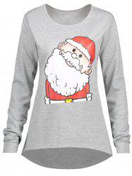 Christmas Santa Claus Plus Size High Low T-shirt -