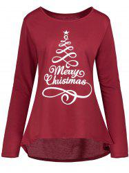 Christmas Star Print Plus Size High Low T-shirt -